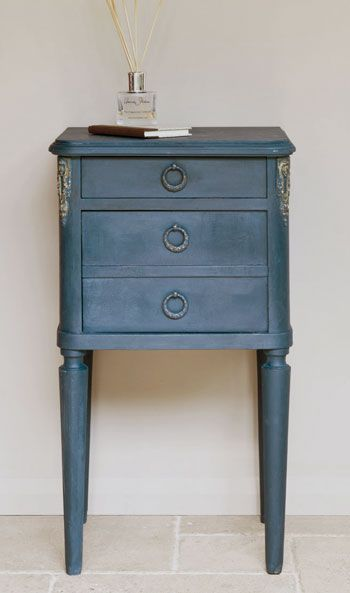 A side table in color Aubusson Blue by Annie Sloan Chalk Paint®