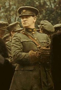 Michael Collins. A leader of the Irish Rebellion.  Director of Intelligence during the rebellion and later led the Irish Delegation in negotiations with the British to enact the Anglo-Irish Peace Treaty.  Assassinated in 1922 during the Irish Civil War - he was 32 years old.
