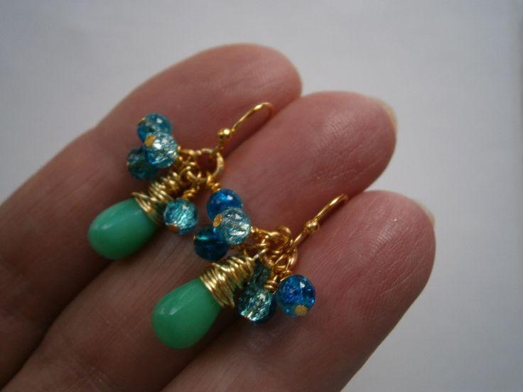 Ohrringe - Mini Ohrringe Aqua Chrysopras türkis Achat grün - ein Designerstück von kunstpause bei DaWanda