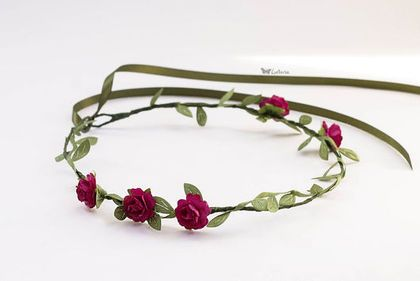 Цветочный венок - фуксия,оливковый,венок из цветов,венок на голову,венок с цветами