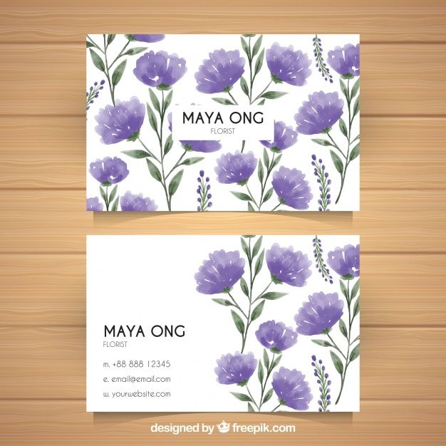 Corporate cards with flowers in purple tones Free Vector