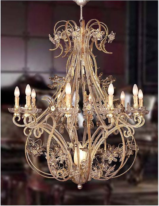 Wrought Iron and Murano Glass Chandelier