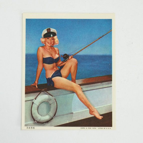 1953 Original Vintage PIN UP Color Lithograph Blonde Bikini Fishing Pole Boat Boating Maritime BlueSailor Sailboat Ocean Ship Life Preserver on Etsy, 29,51 kr