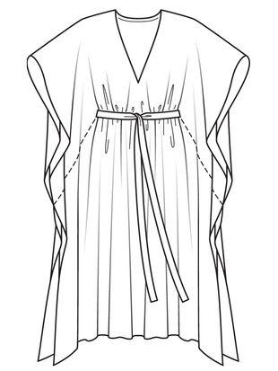 Платье-кафтан - выкройка № 105 B из журнала 7/2017 Burda – выкройки платьев на Burdastyle.ru