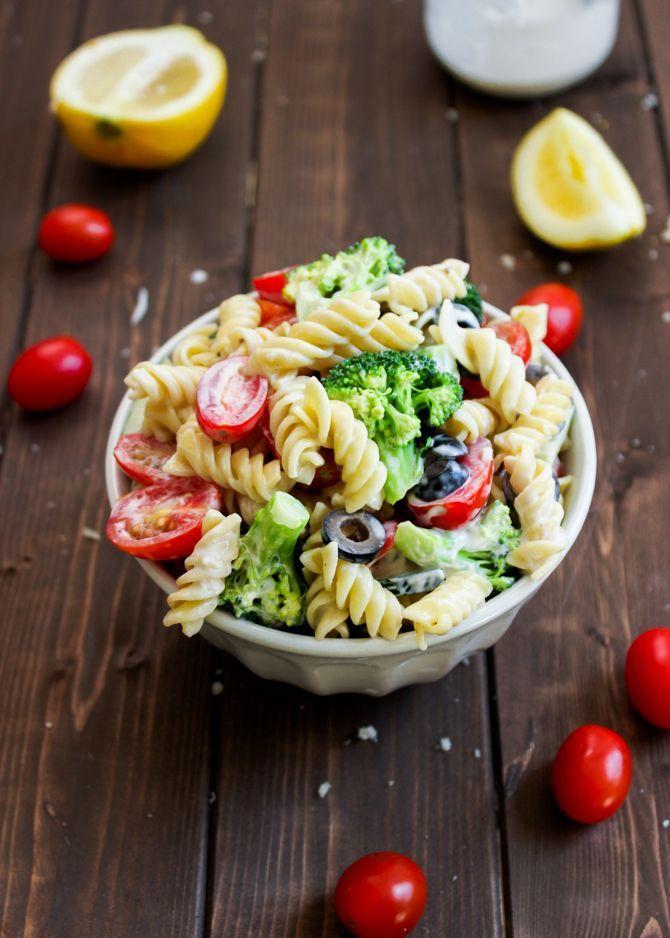 Pasta & Broccoli Salad with Creamy Lemon Dressing #pastasalad