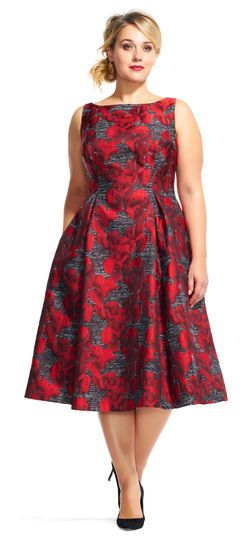 Adrianna Papell | Orchid Print Midi Dress with Deep V-Back