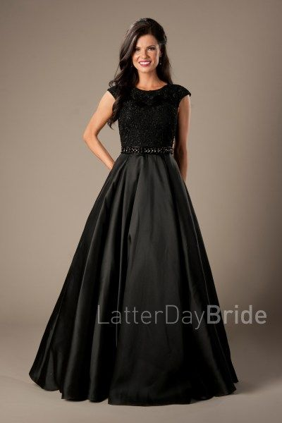 Modest Prom Dress 2017 | LatterDayBride & Prom | SLC | Utah | Worldwide Shipping | Afton | This modest prom gown features a high neckline, soft lace bodice, dazzling natural waistband and a satin pleated skirt. In Black
