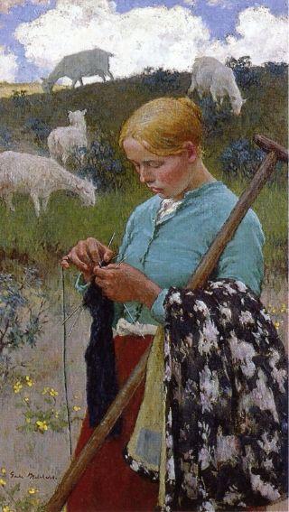 Julius Gari Melchers: Shepherdess, c. 1889  Ouma Meintie het gebrei terwyl sy beeste in die veld opgepas het. Ek het geloop en brei in Hillbrow
