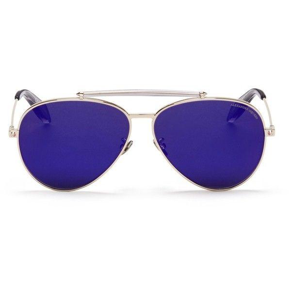 Alexander McQueen 'Piercing Pilot Frame' metal aviator mirror... ($490) ❤ liked on Polyvore featuring accessories, eyewear, sunglasses, purple, mirrored aviators, purple mirrored aviators, purple aviator sunglasses, mirrored lens sunglasses and aviator style sunglasses