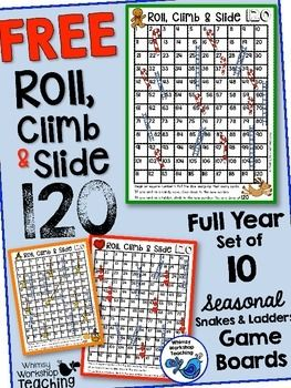 "This set of seasonal board games encourages practice on the 120 chart - one game board for each month of the school year!Using dice, students jump, climb and slide along these ""snakes and ladders"" type of boards. They record the equations as they go on the differentiated recording sheets:Examples:*Start on 10."