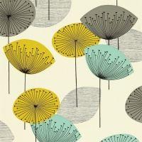 Sanderson 50s behang Dandelion geel blinkend blauw grijs