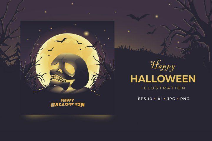 Happy Halloween Card Glowing Skull A Full Moon 954441 Illustrations Design Bundles Halloween Cards Happy Halloween Greeting Card Template