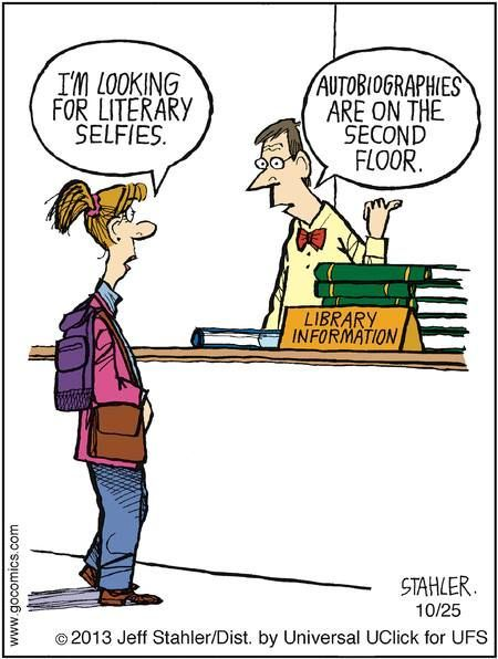 Selfies! Here's a way to get your students interested in autobiographies :) #selfie #library #humor