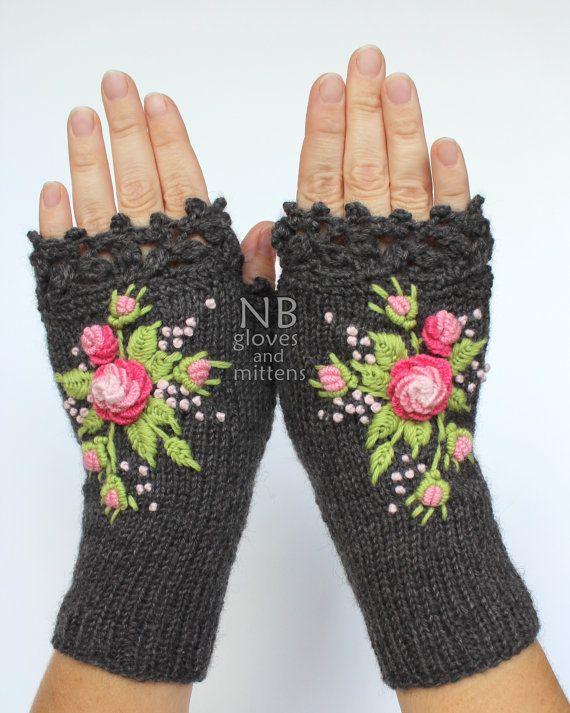 Knitted Fingerless Gloves Dark Grey Rose by nbGlovesAndMittens