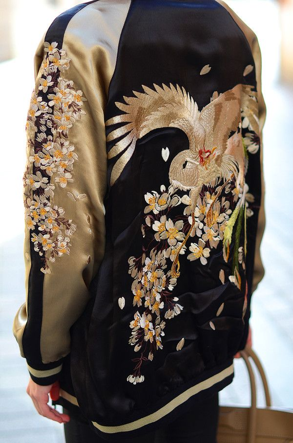 Japanese embroidery baseball jacket from Zara