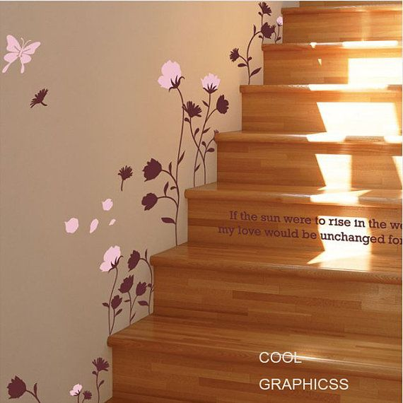 Butterfly and Flower Wall Decal Vinyl Sticker Art by coolgraphicss, $28.00
