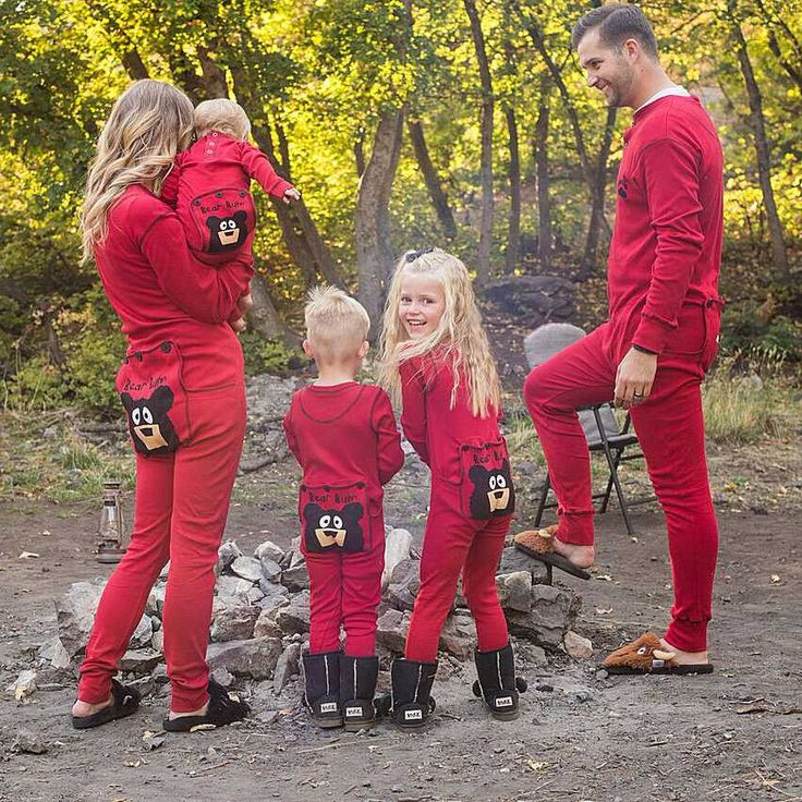 Get these bear bum PJs for the whole family. https://highcountrygifts.com/clothing/pajamas/bear-bum-infant-red-union-suit-with-trap-door.html