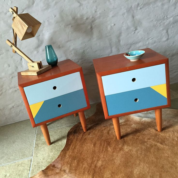 Mid Century Vintage Retro Danish Style 1960s Bedside Tables Drawers in Antiques, Furniture, Cabinets, Cupboards | eBay