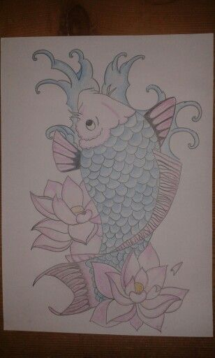 Koi carp #drawing #koi #japanese #lotus #blue #pink #carp #painting