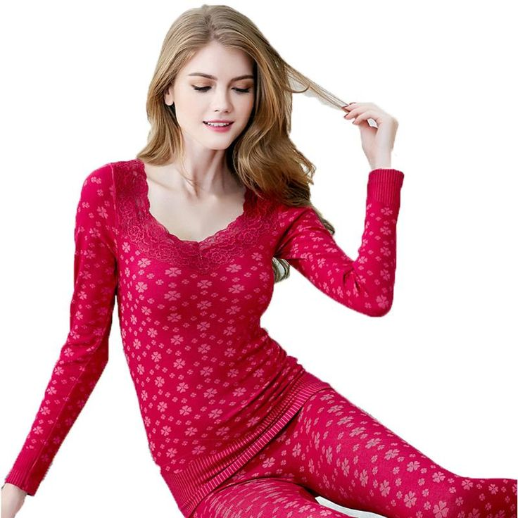 2016 New Autumn Winter Female Women Pajamas Sexy Beauty Thermal Underwear Set Body Shaping Long John