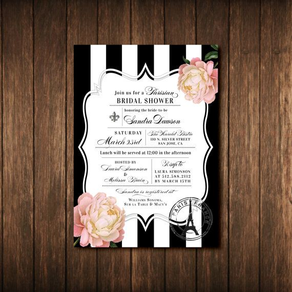 paris french theme bridal baby shower baptism invitations invite day in france black white pink gold striped vintage floral printed paperwork envy