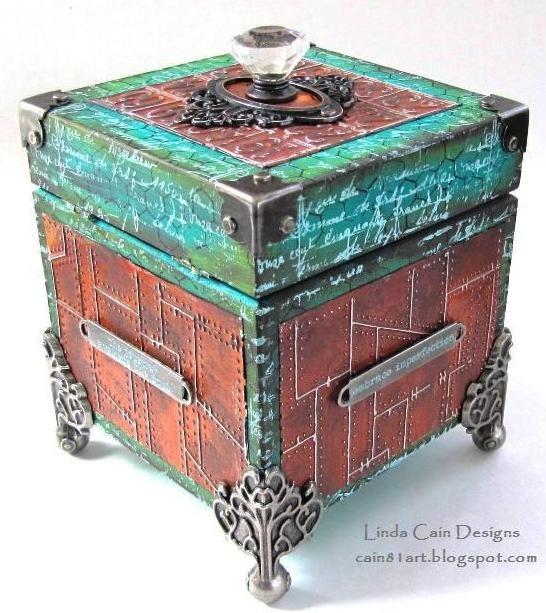 Linda Cain: Riveted Metal Texture Fade http://cain81art.blogspot.com/2013/04/i-had-epiphany.html