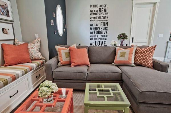 dekokissen ideen wohnzimmer koralle farbe grafische muster - Muster Wohnzimmer