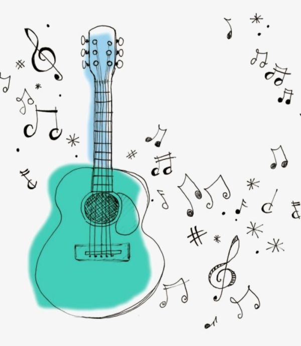 Cartoon Guitar Music Note Illustration Png And Clipart Music Notes Drawing Music Clipart Music Notes