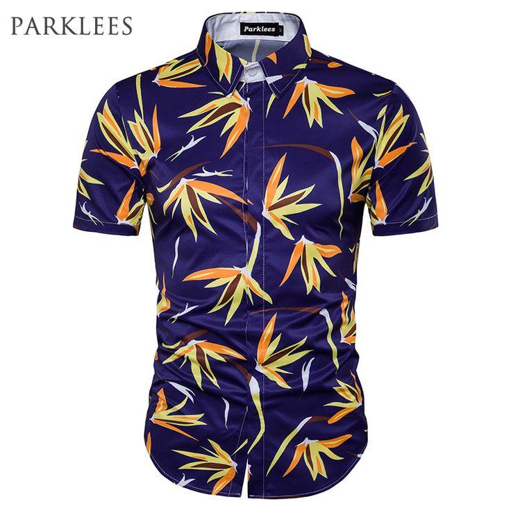 Casual Hawaiian Shirts Men 3D Printed Summer Short Sleeve Mens Beach Shirt Chemise Homme Cotton Turn Down Collar Male Shirts #Affiliate