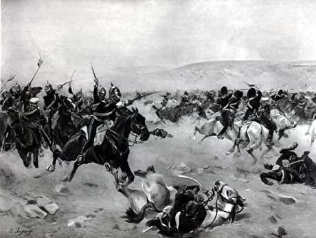 Battle of Balaclava--The Charge of the Heavy Brigade: the Royal Scots Greys attack the Russian cavalry. the Grey's 2nd Squadron was led in the charge by Captain Samuel Toosey Williams. Captain Williams died in Scutari on 25th November 1854 of exhaustion and exposure suffered in the period around the battle and the Great Storm of 15th November 1854. A memorial to this officer can be seen in the tiny church of Buscot, Oxfordshire where his parents lived.