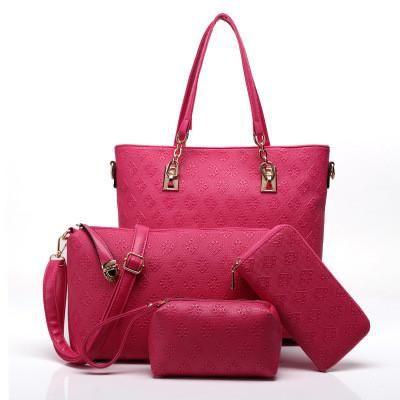 Fashion PU Leather Lady Purses 2016 Famous Brand Tote Bags Luxury High Quality Designer Printing Handbag For Women 4 piece Set
