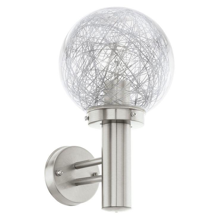 REA! Eglo 93366 Vägglampa Nisia 1 stål, räfflad glas IP44 - HemOchBastu.se