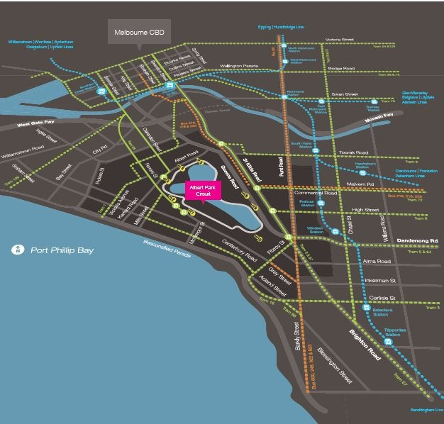 A detailed map to help you catch public transport to the 2012 Formula 1 Australian Grand Prix at Albert Park Circuit, Melbourne, Australia