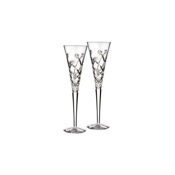 """Waterford Crystal """"Wishes Believe"""" Set of Two Champagne Flutes (185 CAD) ❤ liked on Polyvore featuring home, kitchen & dining, drinkware, crystal flute, crystal drinkware, waterford flutes, crystal champagne flutes and twin pack"""