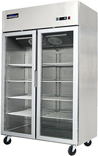TWO GLASS DOOR COMMERCIAL FREEZER TOP MOUNT - STAINLESS STEEL 49 CU. FT.  Stainless steel exterior and interior  Automatic LED interior lighting  Double pane tempered glass door for more efficient insolation  Top rated digital temperature control system  Oversized top mounted refrigeration system for better performance
