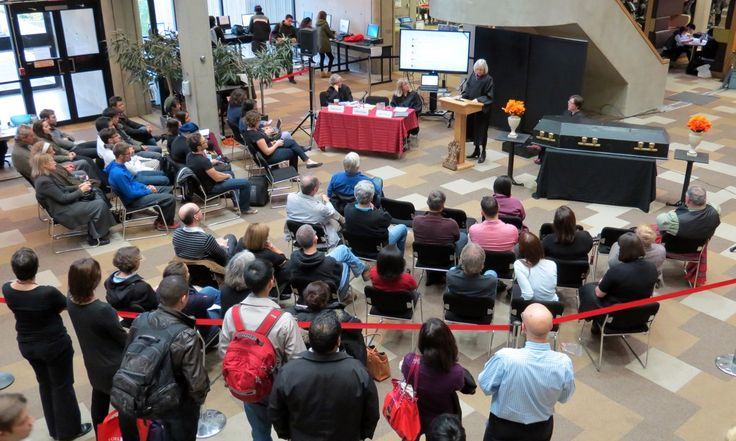 Wake crowd grows - Death of Evidence in #Canada, Oct.22 #YorkU #RIPevidence #OAweek