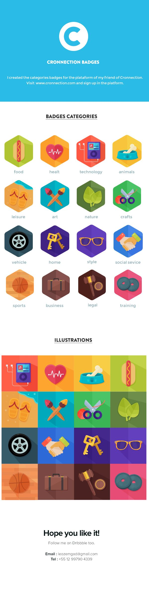 Cronnection badges by Leonardo Zem, via Behance