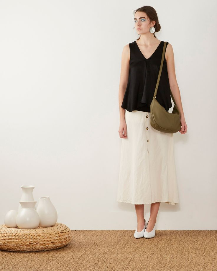 Roberta Sling | Olive - Opelle bag SS17 - Opelle leather handbag handcrafted leather bag toronto Canada