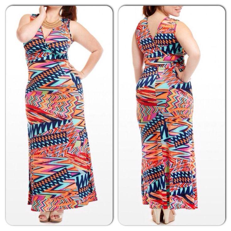 Plus Size Multicolored Zig Zag Chevron Print Maxi Dress Size 2X #PrivateLabel #Maxi