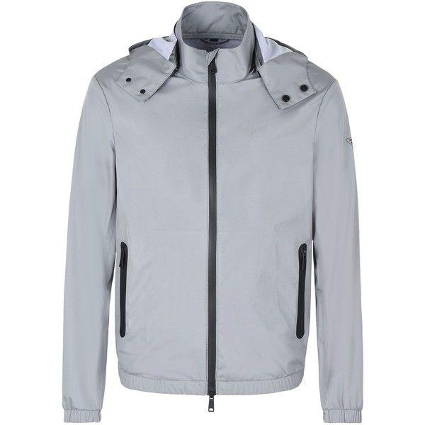 Armani Jeans Bomber Jacket (1.200 BRL) ❤ liked on Polyvore featuring men's fashion, men's clothing, men's outerwear, men's jackets, grey, mens zip jacket, mens grey jacket, mens gray leather jacket and mens grey bomber jacket