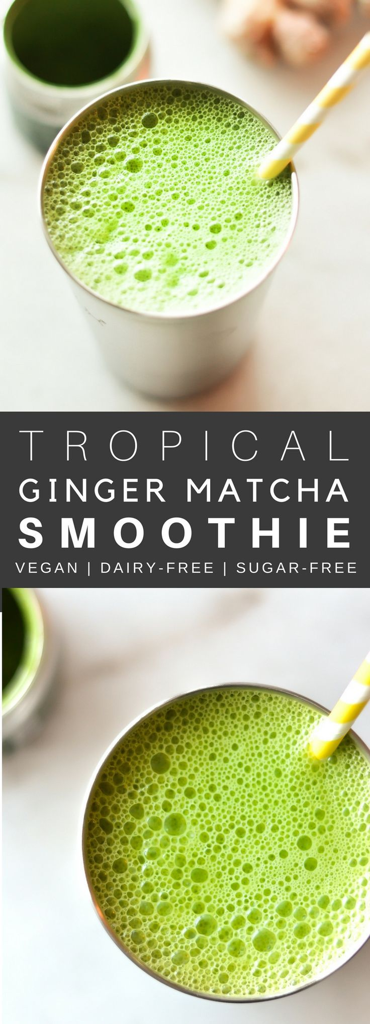 A delicious and simple green smoothie made with spinach, mango, matcha, and ginger. This energizing mix will have you missing warmer weathers, especially this time of the year! You can add dates for additional sweetness or stick to the basics. And it take