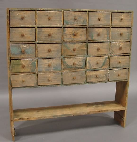 Apothecary Bucket BenchTwenty Five Small Drawers With Wood Pulls, Stretcher  Shelf, Traces Of Green, White And Blue Paint, 11