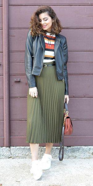 b5c7566bc Olive green midi skirts | midi skirts | Green pleated skirt, Pleated skirt  outfit, Skirts