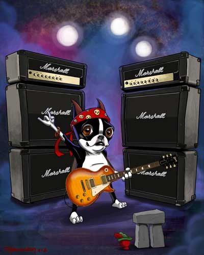 From etsy: Boston terrier Rock Star guitar playing LIMITED by rubenacker, $45.00. Soooo funny!
