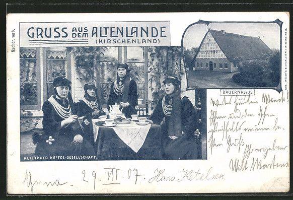 Alte Ansichtskarte: AK Jork, Altländer Kaffee-Gesellschaft, Bauernhaus, Frauen in Trachten