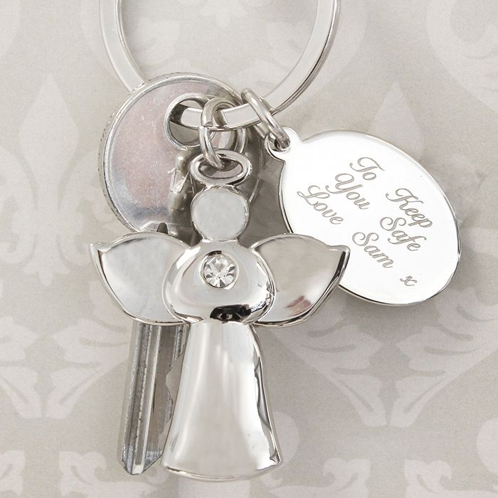 Personalised Silver Guardian Angel & Diamanté Keyring  http://justtherightgift.co.uk/personalised-silver-guardian-angel-diamante-keyring  http://justtherightgift.co.uk/