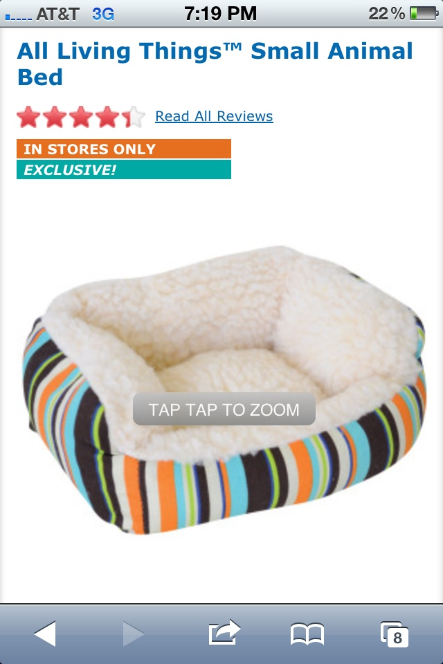 All Living Things Small Animal Bed 12.99 PetSmart Pet