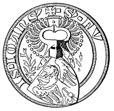 I sigillet för riddaren och riksrådet  Folke Jonsson till Fånö, 1312 (The seal of Folke Jonsson. Year 1312). -- Folke Jonsson (känd 1288-död 1313). Riddare och riksråd från Uppland.
