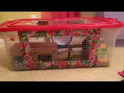 Making a diy hamster cage bin cage youtube hamsters for Diy hamster bin cage