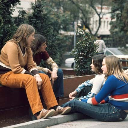 Group of teens in City Square, Melbourne 1974. Photo: Pat McArdell.